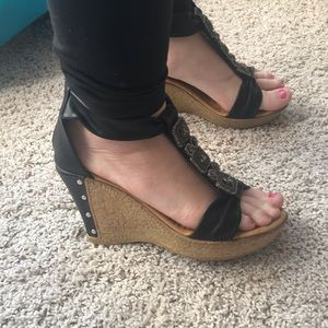 Black BRAND NEW cork sandal wedges with zipper
